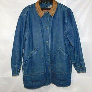 VTG Woolrich Woman L Denim Wool  Lined Jacket